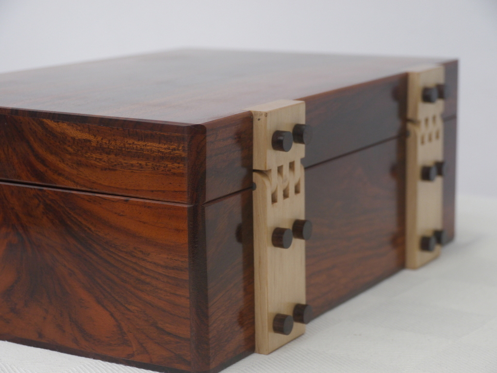 Solid Rosewood and Maple Luxury Jewellery Box 12in