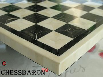 Superb Solid BONE Chess Board - Black and White 1.9 inch Squares
