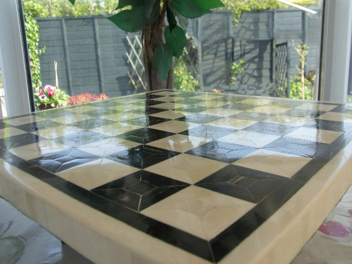 Superb BONE Chess Board - Black and White 1.9 inch Squares