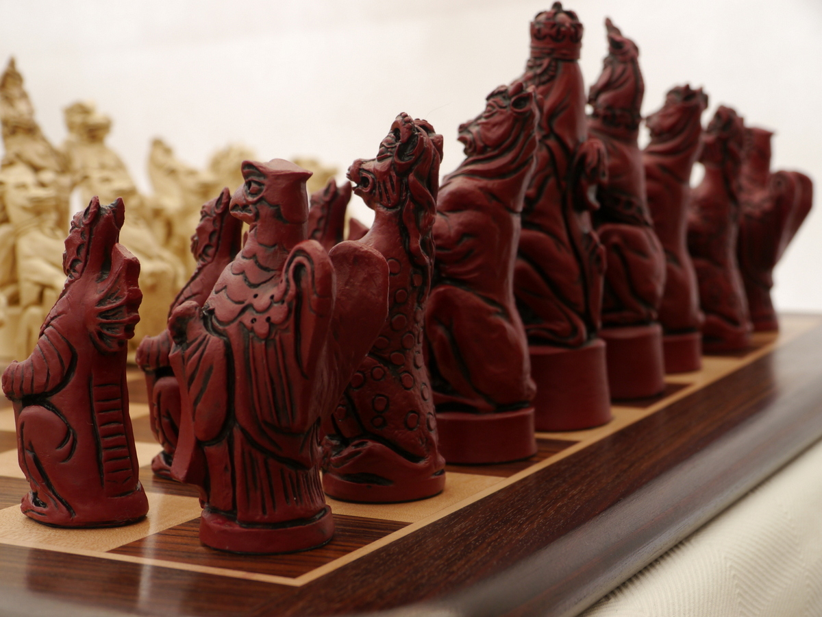Berkeley Chess Ltd - Royal Beasts Chess Set - Ivory and Red