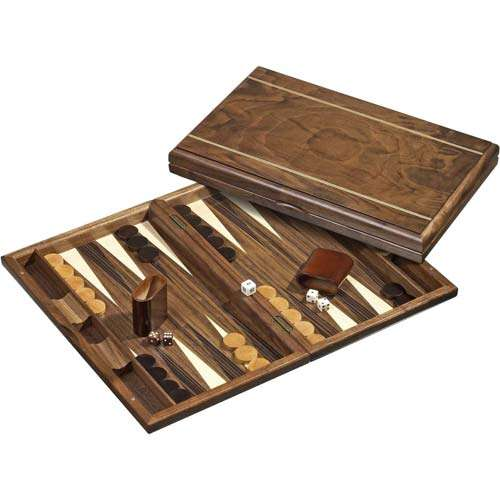 Folding Wooden Backgammon - Tortoise shell - 60cm x 48cm