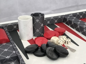 Dal Negro Backgammon - in Plush Grey Fabric 70cm