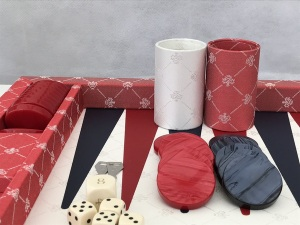 Dal Negro Backgammon - in Plush Red Fabric 70cm