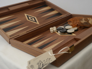 Manopoulos Backgammon - in Walnut with Wenge and Oak Points - 60cm