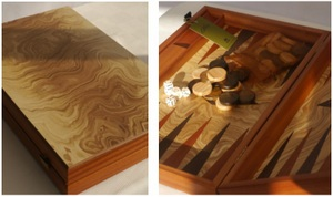 Manopoulos Backgammon - Olive Burl - Wenge and Mahogany Points - 60cm