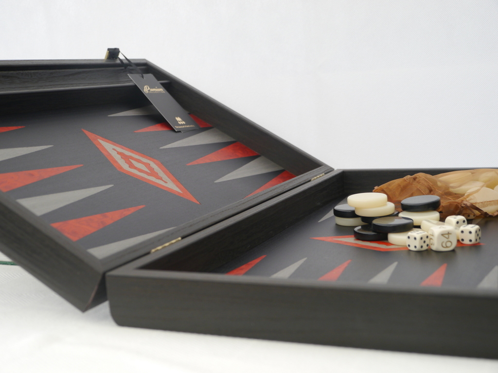 Manopoulos Backgammon - Black Oak - Red Burl and Grey Points - 60cm