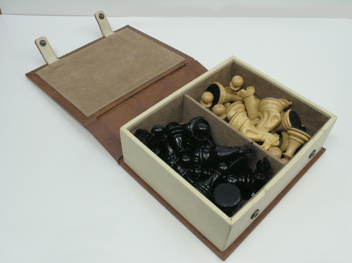 Leather Fawn Chess Case 10 inch x 7 inch x 4 inch