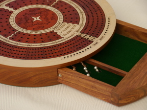 4 Track Round Cribbage with Internal Drawer 27.5 cm Dia - Whitewood