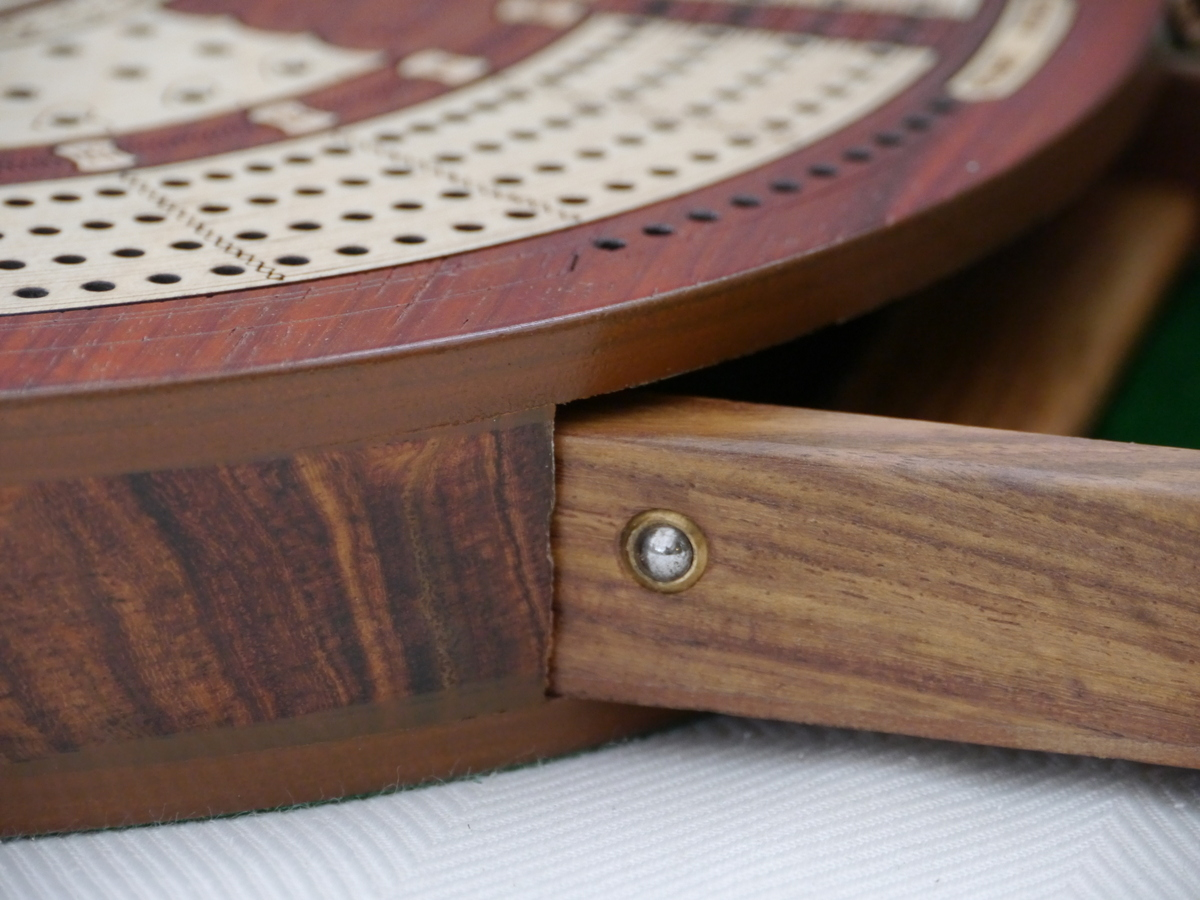 4 Track Round Cribbage with Internal Drawer 27.5 cm Dia - Redwood