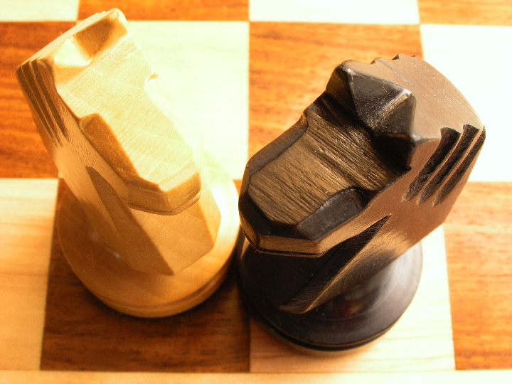 Concave Staunton Ebonised Chess Set