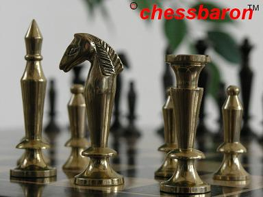 The Cobra Brass and Steel Chess Pieces