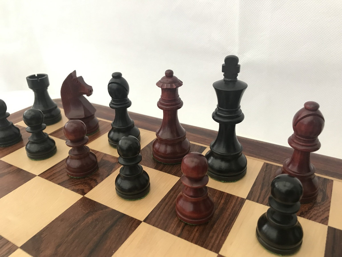 Blood Red and Black Double Weighted Staunton Chess
