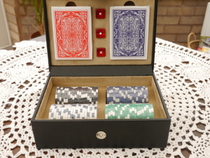 Poker Set with High Quality Playing Cards, Dice and Chips in Leather Case