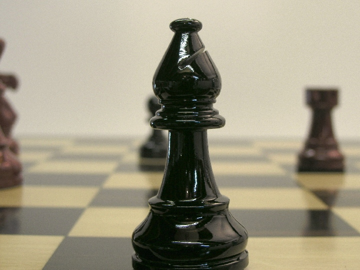 American Staunton in Black-Pale Red Gloss Chess Pieces
