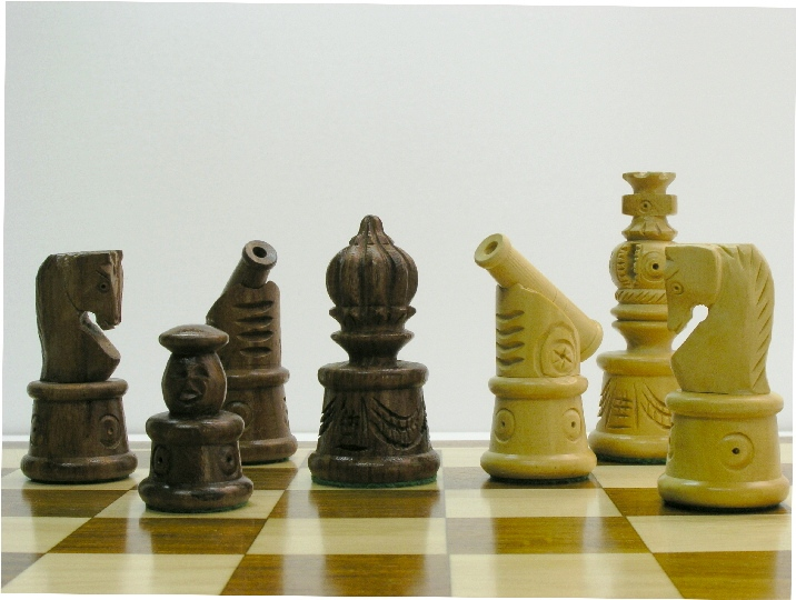 Canon in Golden Rosewood Chess Pieces