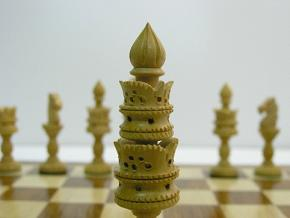 Lotus Carved in Bud Rosewood with 4.25 inch King Chess Set