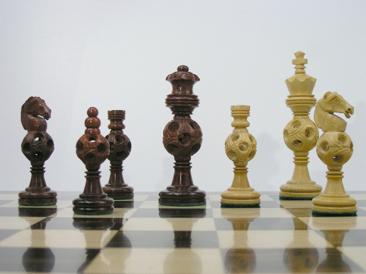 Concentric Ball in Bud Rosewood Chess Set