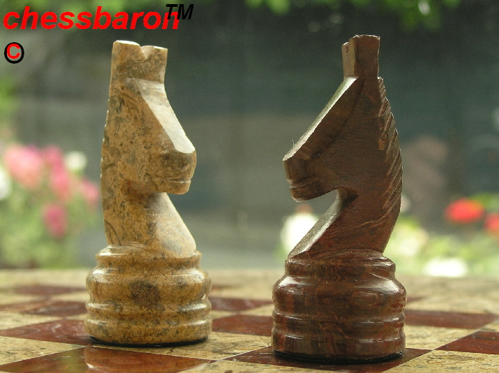 Fossil and Coral Chess Set with Solid Round Marble Board