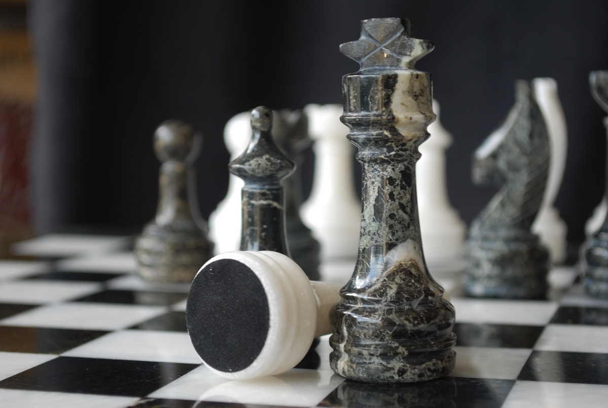 Zebra Marble Chess Set Round Solid Marble Board And Case