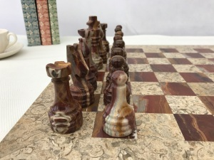 Fossil and Coral Chess Set - Beautiful 16 Inch Marble Chess Board and Case Included