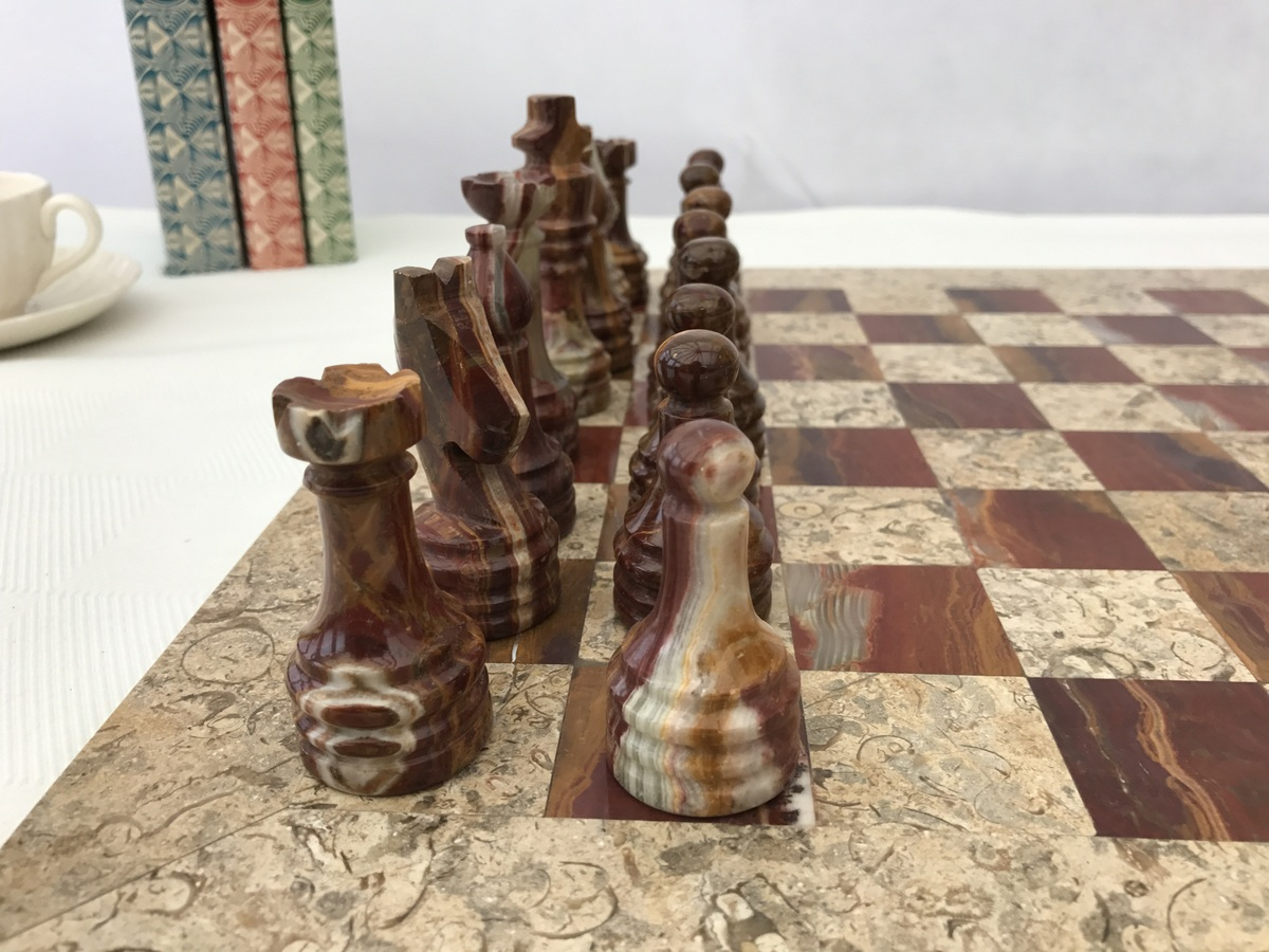Fossil And Coral Chess Set With Beautiful 16 Inch Marble