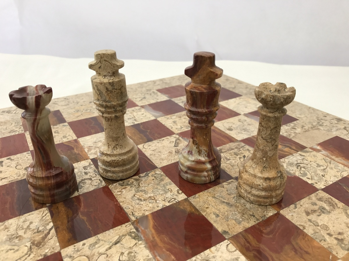 Fossil and Coral Chess Set with Beautiful 16 Inch Marble Chess Board