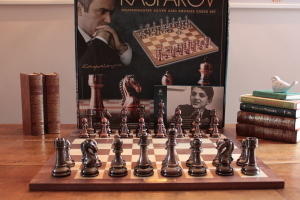 GIFT PACKAGE Heavy STEEL with Silver, Bronze Finish Chess - BOARD Included