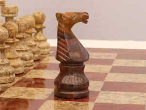 New! Coral and Red Marble Chess Set with Marble Board and Case
