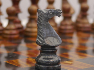 Red and Black Marble Chess Set with Marble Board