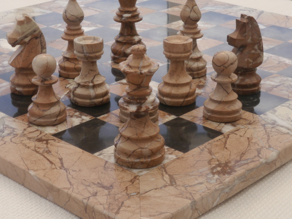 Marina and Boticini Black Marble Chess Set with Marble Board