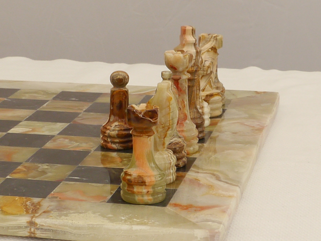Beautiful Light and Black Marble Chess Set with superb heavy marble Board