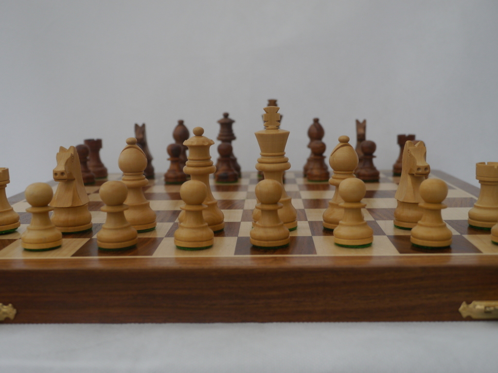 Highest Quality 16 inch Weighted Chess Set with Board and Cabinet