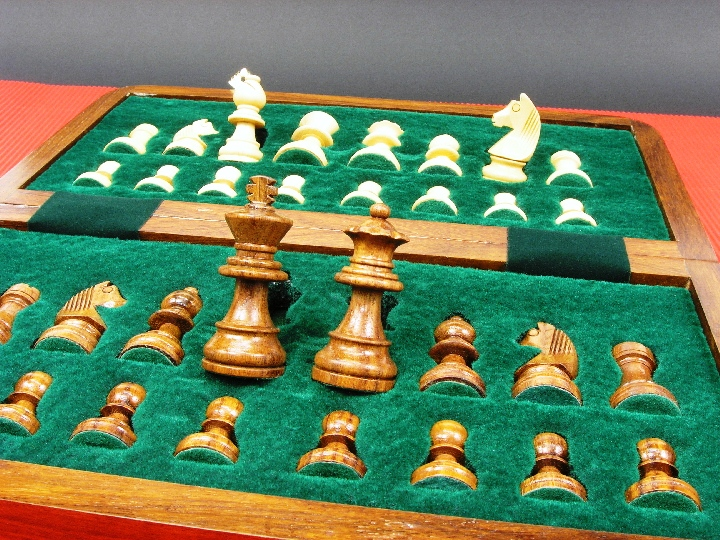 Art Deco Oceanic Fossil and Marble Chess Set with Marble Board