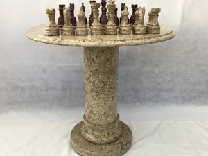 Large Marble Chess Table with Chess Pieces