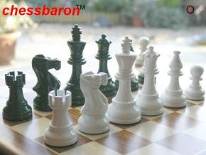 American Staunton in Dark Green-White Gloss Chess Pieces