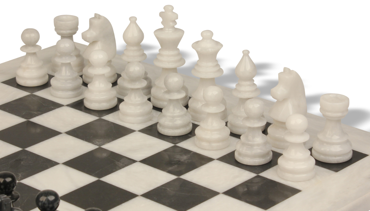 Black and White Marble Chess Set with Solid Marble Board