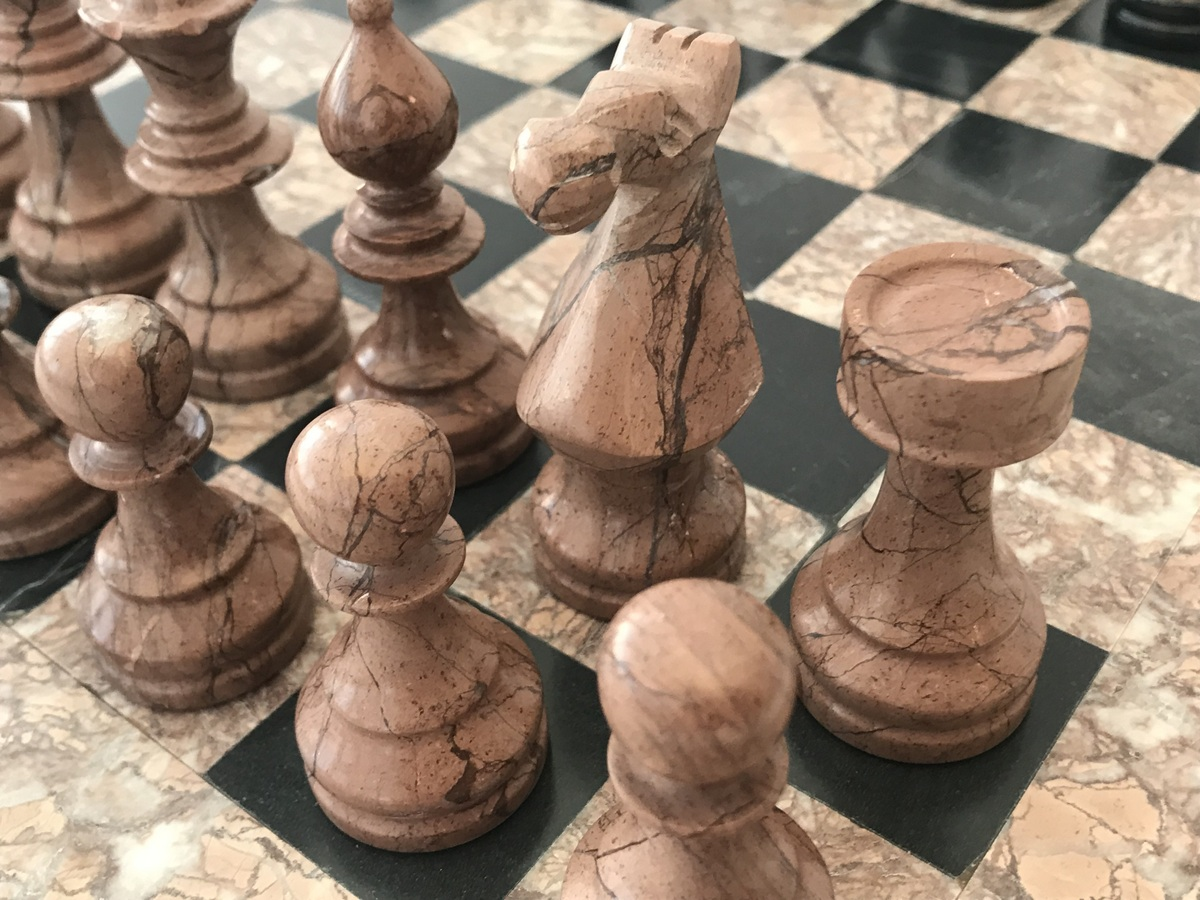 Marina and Boticini Black Marble Chess Set with Heavy Marble Board