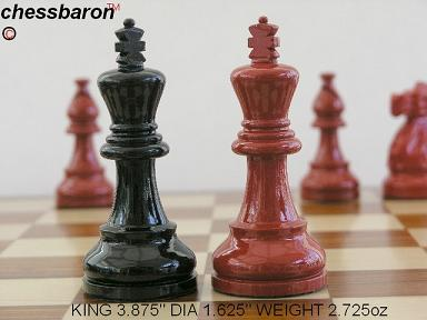 American Staunton in Black-Red Gloss Chess Set