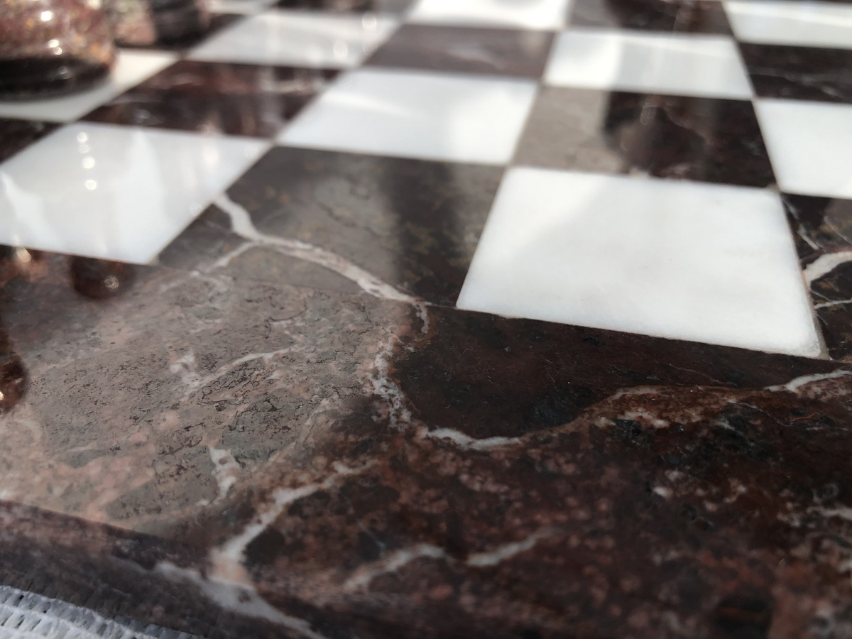 The Zebra - Red Marble and White Onyx with Marble Board