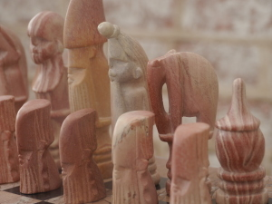 African Marble Tribal Chess Set with Marble Board