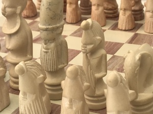 African Marble Red and Cream Tribal Chess Set with Marble Board