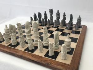 Large African Marble Dark Grey and Cream Tribal Chess Set