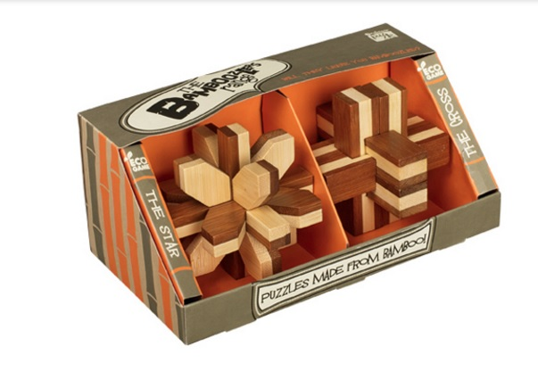 Bamboo - Set of Two - The Star and Cross - Wooden Puzzles