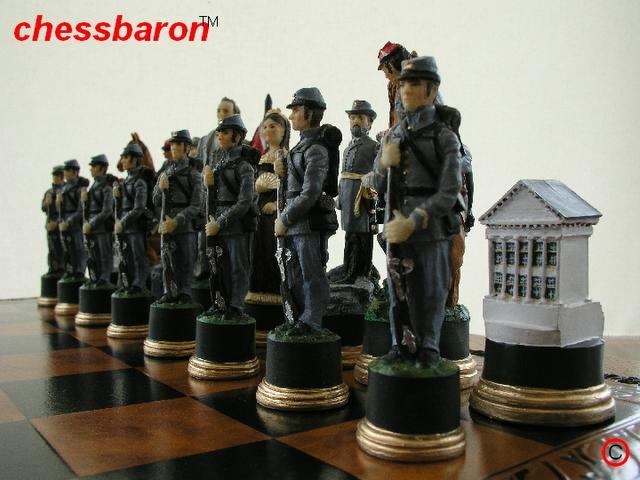Hand Painted American Civil War Chess Set - (0)1278 426100