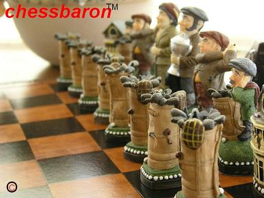 Golf Hand Painted Chess Set