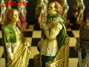 Hand Painted Celtic Chess Pieces