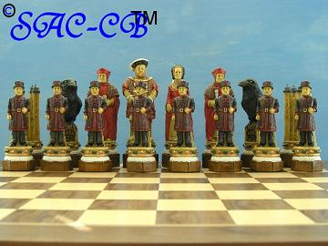 White Tower Hand Painted Chess Set