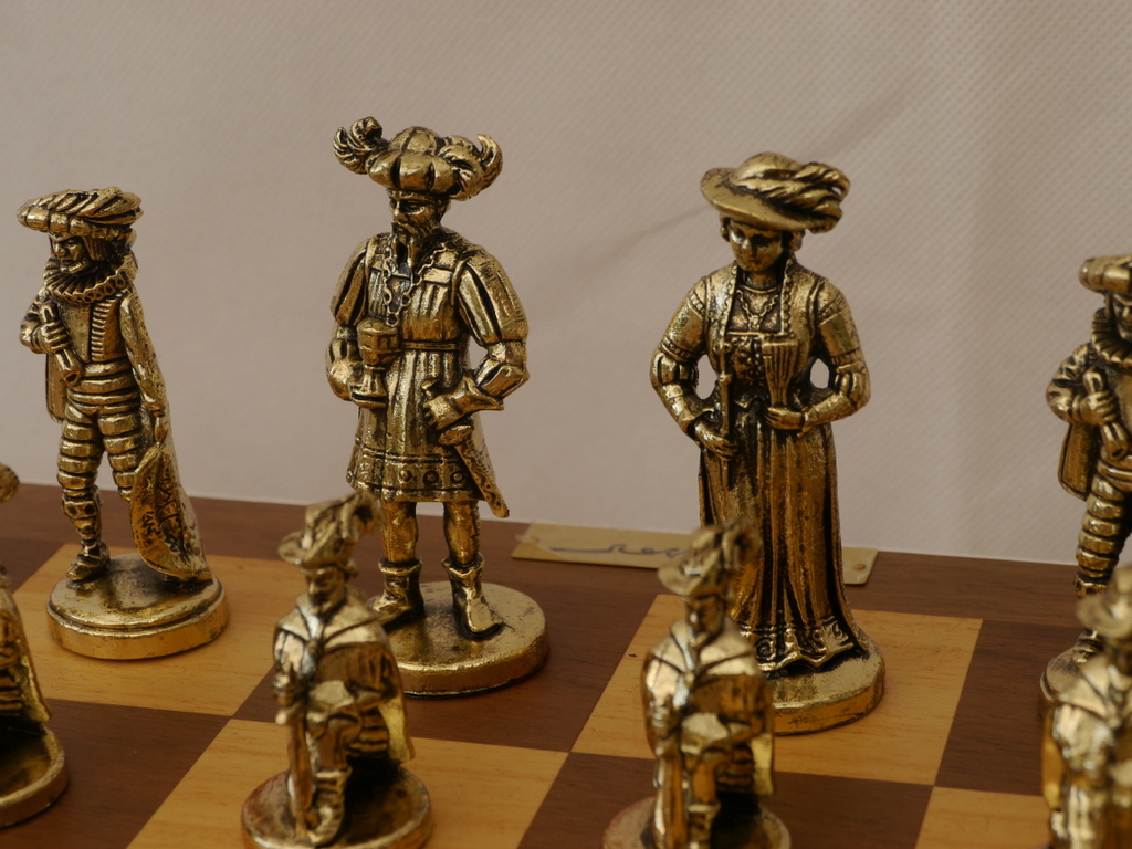 French Late Baroque - Brass Chess Set