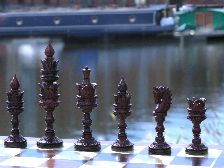 LARGE Lotus Carved Weighted Bud Rosewood Chess Set