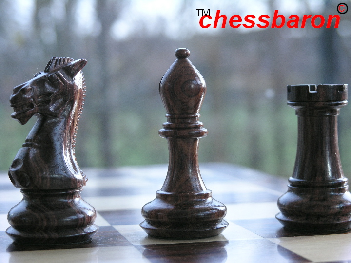 Carved Chamfered Base in Rosewood Staunton Chess Set